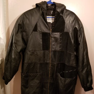 VINTAGE 1980's WINLIT Patch Work Leather Jacket